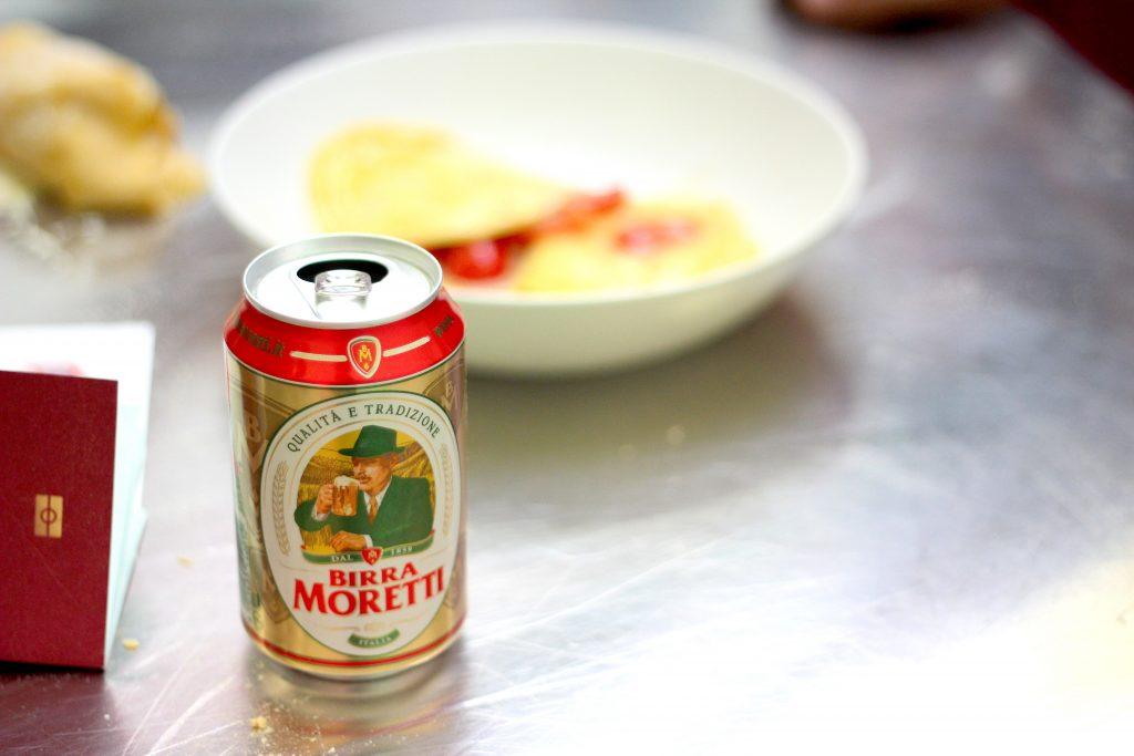 Birra Moretti with Cin Cin dish