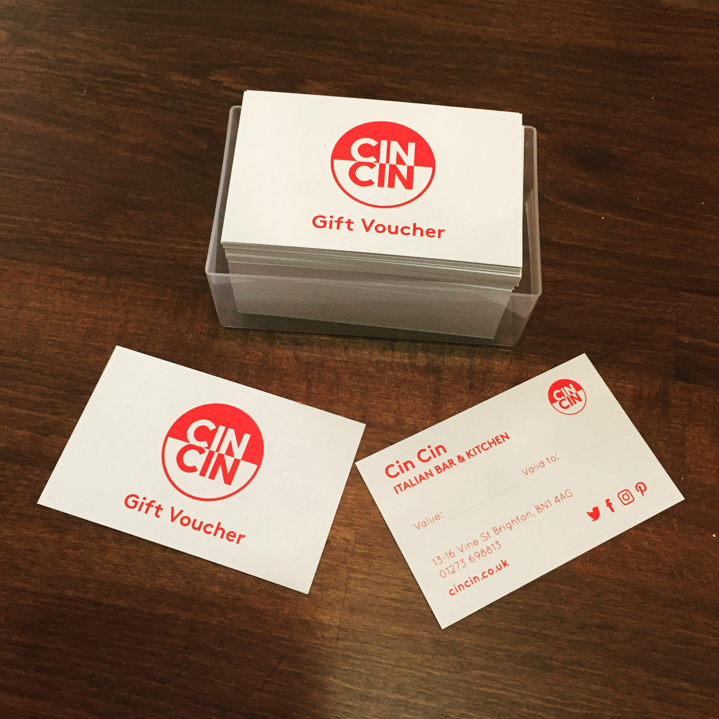 Cin Cin Italian counter dining gift vouchers
