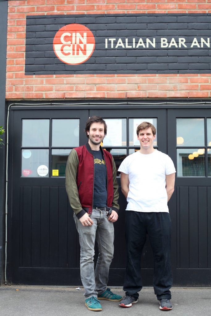 Sammy Smith and Jamie Halsall standing in front of Cin Cin