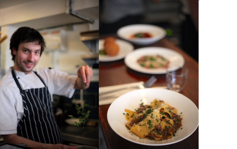 Sammy Smith from 64 degrees sprinkling herbs, and a photo of Saffron pappardelle, Sussex beef shin, gremolata.