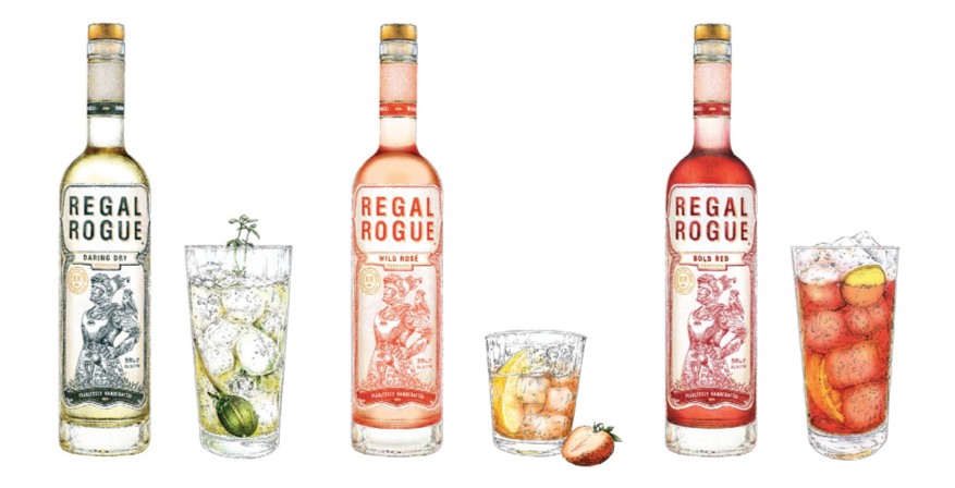 Illustration of Regal Rogue bottles with glasses of exclusive drinks