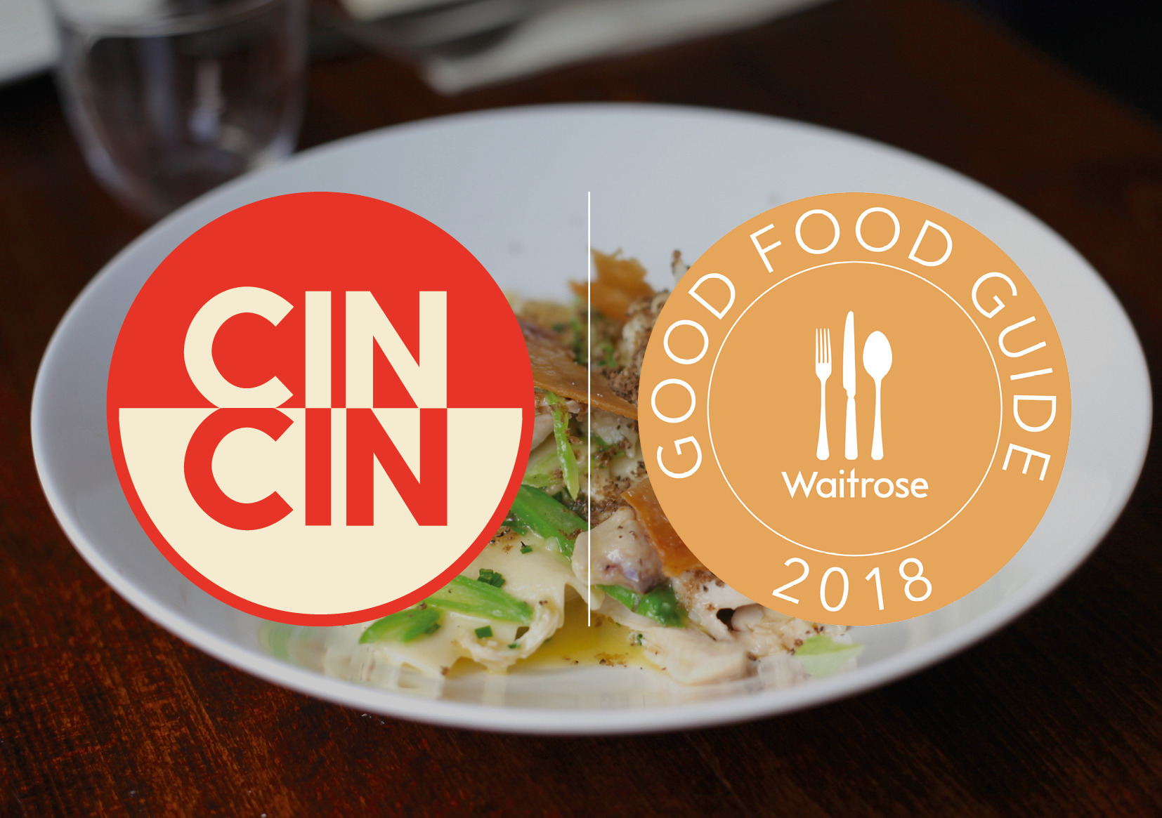 Cin Cin logo and Good Food Guide logo, with photo of dish behind