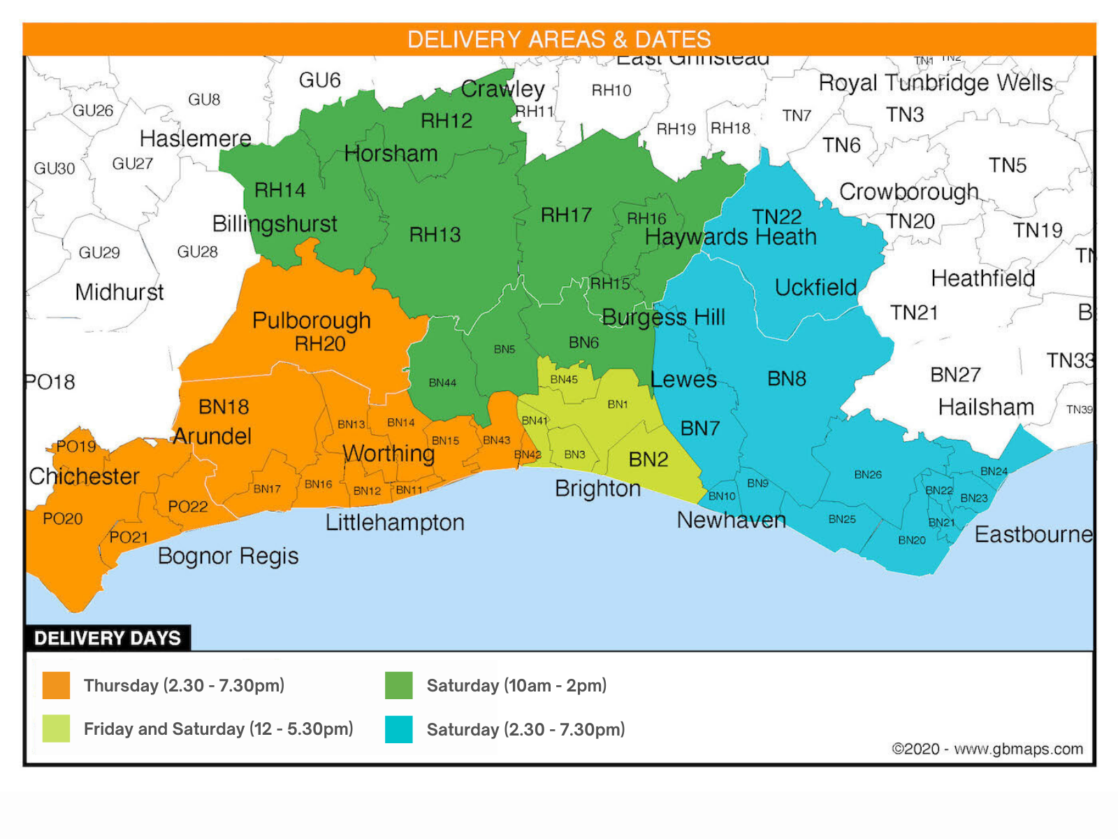 Map showing delivery days in Sussex